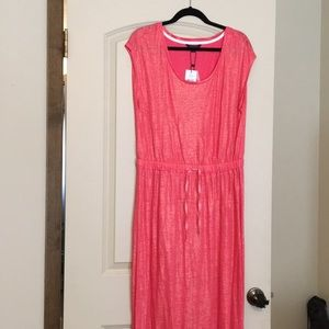 Pink and gold maxi dress with sleeves